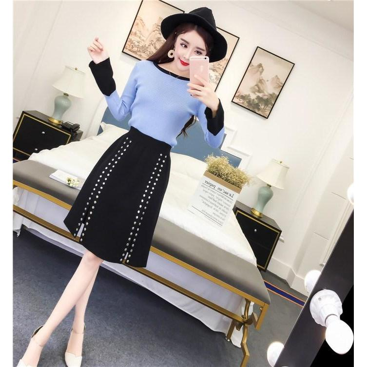 2017 Autumn New Arrival Ladies Hip Color Korean Flare Sleeve Slim Knit Sweater Black Elastic Waist Rivet Skirt Two Piece Set