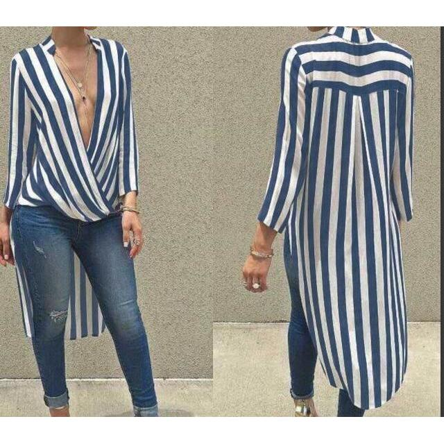 2017 Autumn Fashion Women Striped Blouses Sexy Deep V neck Long Sleeve Irregular Top Hem Casual Tops