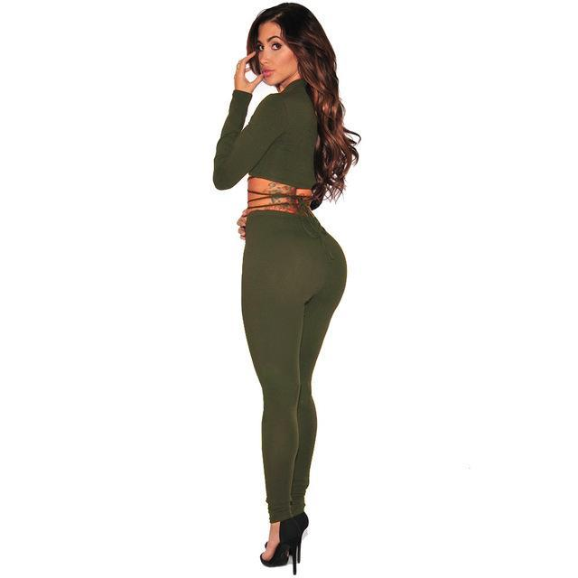 2017 Spring 2 Piece Set Women Long sleeve Bandage Crop Top Elastic Waist Ankle-Length Pants Slim Sexy Two Piece Set Black