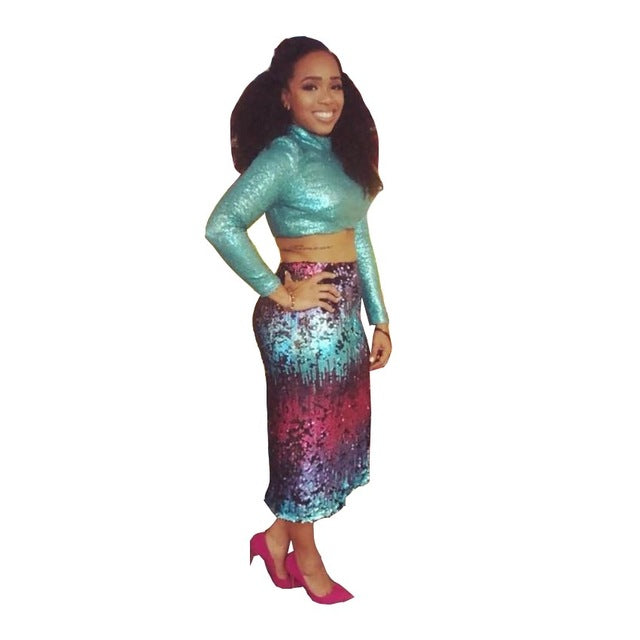 cbc0e829a5a00 ... Sexy Colorful Sequin Women Set Long Sleeve High Neck Crop Tops Pencil  Skirts Women Nightclub Wear