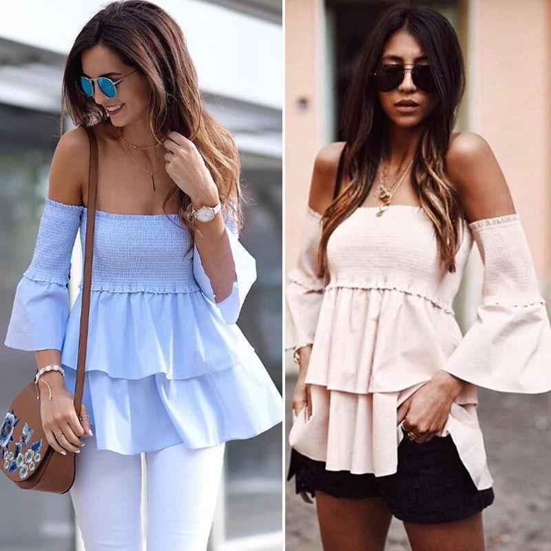 2017 Summer Autumn Women Sexy Off Shoulder Ruffled A Word Collar Tops Blouse Strapless Loose Long Sleeve Female Blouse Tops