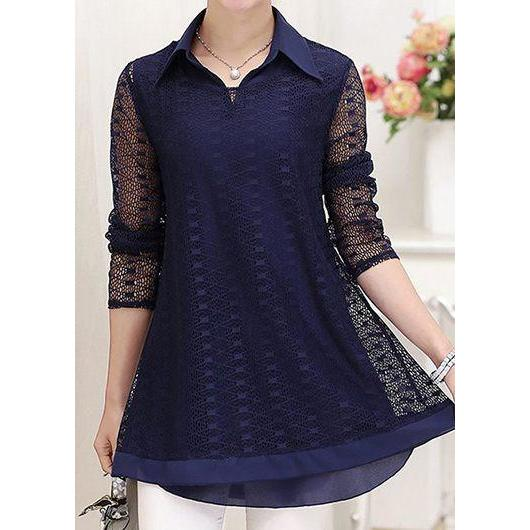 2017  Layered Turn down Collar Long Sleeve Navy Blouse Casual Loose Patchwork  Perspective Shirt