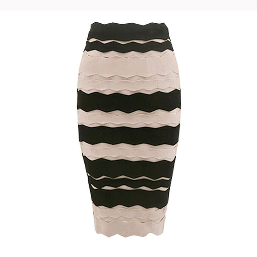 2017 Hot Style Women Celebrity Bodycon Bandage Skirt Black Nude Patchwork Jacquard Knee Length Party Skirt