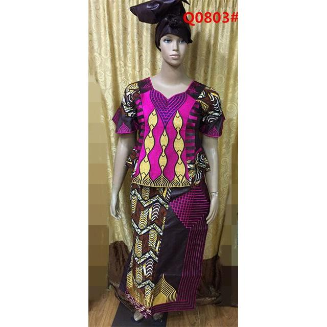 2015 Direct Manufacturer,africa bazin mix wax dress for  LADY STYLE normal embroidery beside have zipper 3pieces /set-Q9803#