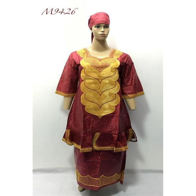 2017 NEW african bazin clothes with cording  embroidery dresses,Middle women dress with wrapper and scarf 3pcs/set M9426#