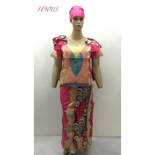 2016 Direct Manufacturer,african bazin mix wax dress for  LADY STYLE cording embroidery beside have zipper 3pieces /set-H9003#