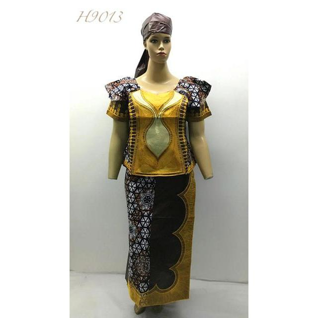 2016 BAZIN RECHI mix wax style africa bazin dress for wedding and party  cording embroidery beside has zipper 3pieces/set-H9013#