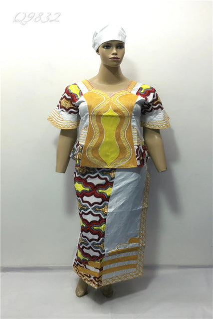 New design African BAZIN MIX WAX clothes/dress for LADY STYLE cording embroidery beside have zipper 3pieces /set-Q9832#