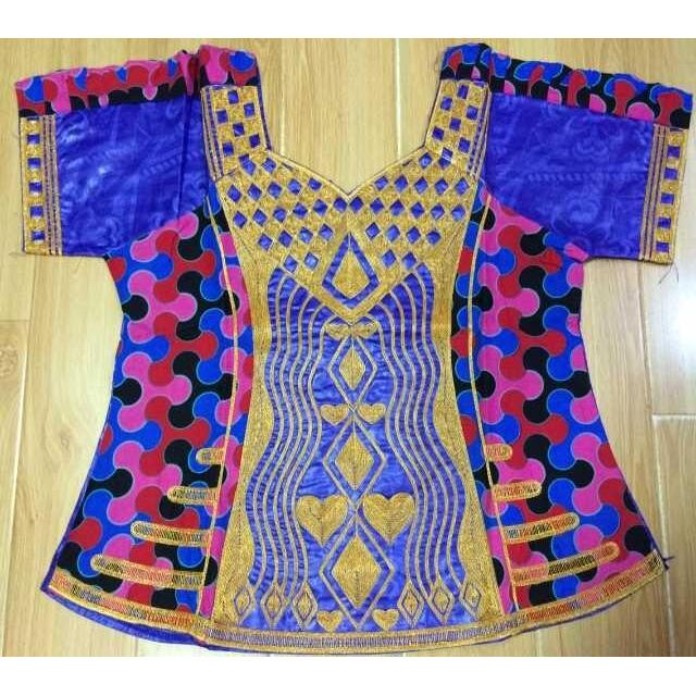 2017 mix wax and bazin riche with cording embroidery dress for lady/women,have zipper in front of top dress -K9024-BEST QUALITY