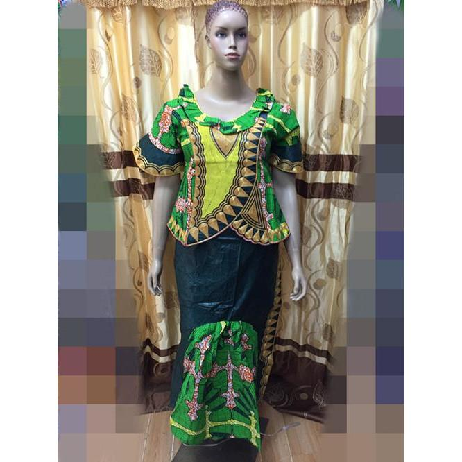 2015 BAZIN MIX WAX STYLE africa bazin dress for wedding and party cording embroidery beside have zipper 3pieces /set-AQ9828