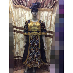 2016 african clothing bazin MIX WAX STYLE shadda damask guinea brocade with cordding embroidery dress(long dress)-B9808
