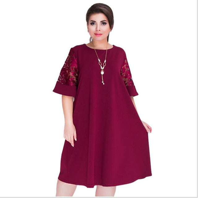 c45c6ae2edb Elegant Loose Lace Summer Dresses Big Size 2018 Plus Size Women Knee-Length  Office Dress. Hover to zoom