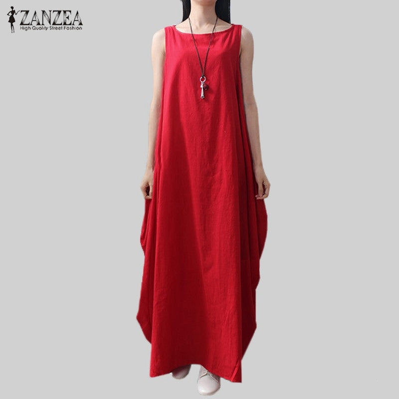 4a4eaf0f40c57 Casual Retro Solid Summer Dress 2018 ZANZEA Women Elegant Loose Sleeveless  Dress Cotton Linen Long Maxi Dress Vestidos Plus Size