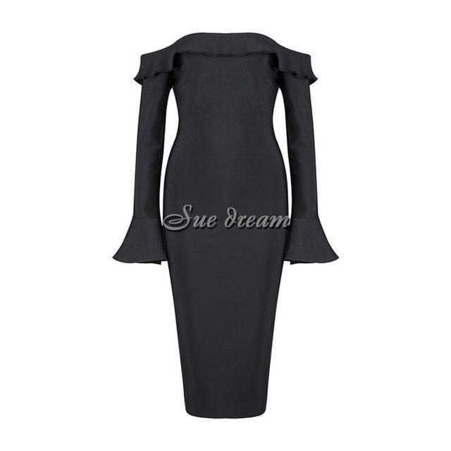 2017 Summer new women dress long sleeves slash neck bandage dress sexy bodycon celebrity party black dresses vestidos wholesale