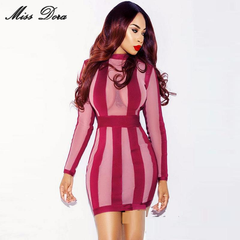 2016 New summer dress! Amazing sexy bodycon wine red Mesh Patchwork Long Sleeves Celebrity Party Bandage Dress wholesale