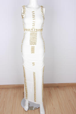 ffb5d0386f5 ... Image of Leger Kim Kardashian Evening Sleeveless Celebrity Gold Studded  Beaded Curve Hugging White Maxi Dress ...