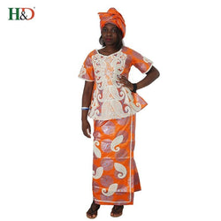 2018 African clothes bazin embroidery dresses short rapper with scarf three pcs one set africa femme Africano vestidos M2599