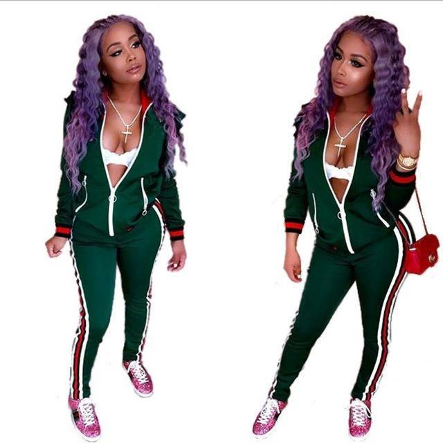 2017 Two Piece Set Autumn Winter Zipper Jacket Top And Side Striped Pants Green Fitness Outfit Casual Suits Women Tracksuit