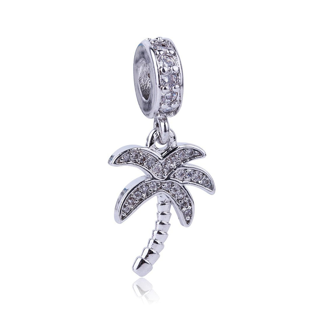 2017 New High Quality coconut tree Pendant Charm Silver Bead Cubic Zircon Beads DIY Fashion Jewelry Fit Pandora Charms Bracelet