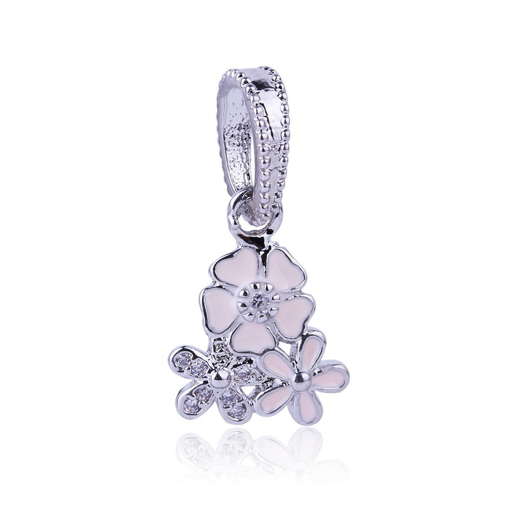 2017 New High Quality Flowers Heart Pendant Charm Silver Bead Cubic Zircon Beads DIY Fashion Jewelry Fit Pandora Charms Bracelet