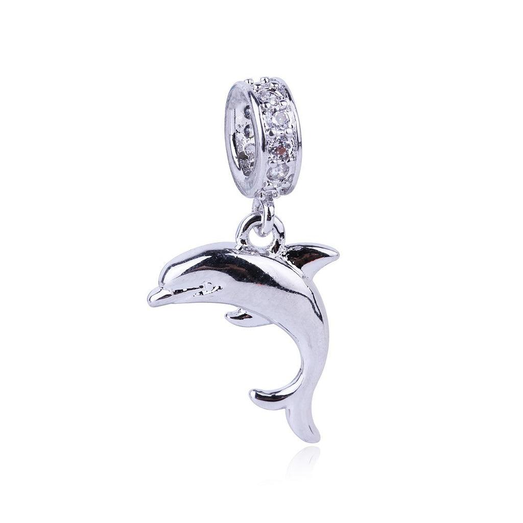 2017 New High Quality Cute Dolphin Pendant Charm Silver Bead Cubic Zircon Beads DIY Fashion Jewelry Fit Pandora Charms Bracelet