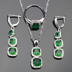 Bridal Silver 925 Costume Jewelry Sets Women Green Zircon Necklace Pendant Rings Earrings With Stones Set Jewellery Gift Box