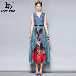 LD LINDA DELLA New 2018 Fashion Runway Designer Dress Women's Sleeveless V neck Luxury Mesh Beading Embroidery Party Long Dress