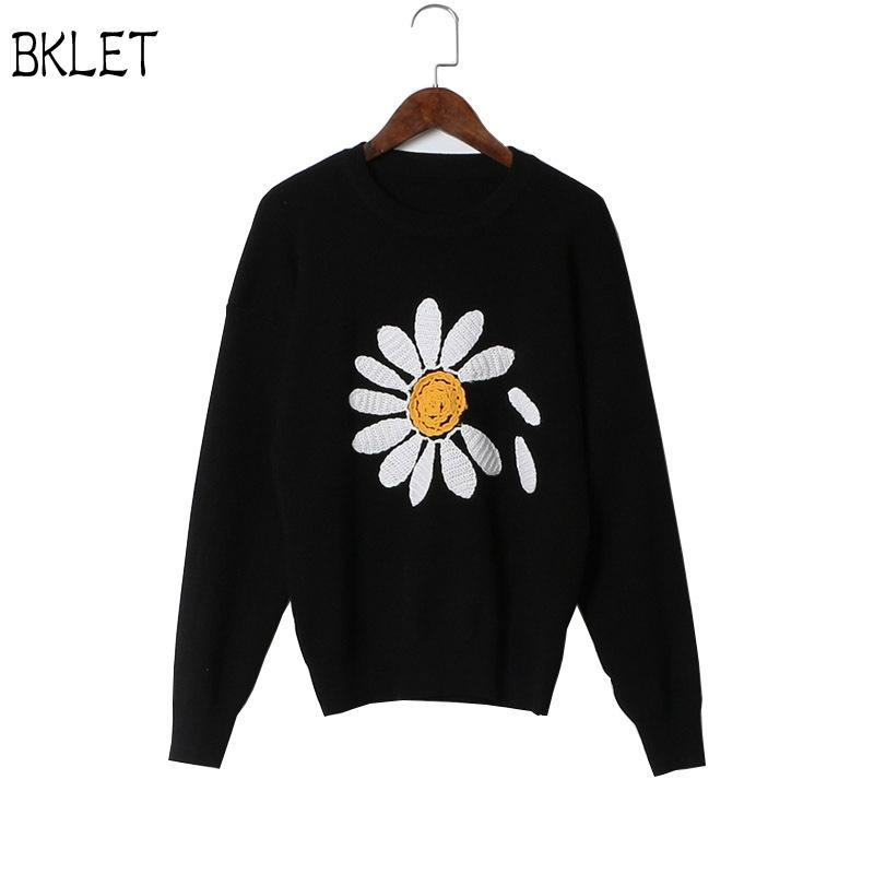 2017 New Arrival Autumn Winter Sunflower Embroidered Knitwear Women's Clothing Pullover Sweater All Matched Slim Jumper