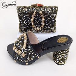 Capputine Custom Rhinestone Women's Black Shoes With Matching Bag Set Italian Pretty Slipper Pumps Shoes And Bags Set For Party