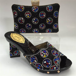 Capputine Italian Women's Shoes and Bag Set Decorated With Rhinestone Women Shoes And Bag Set In Italy Size 37-42 BL815C