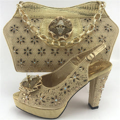 ... Capputine Gold Color Italian Woman Shoes With Matching Bags Set African  Shoes And Wedding Shoes For d84ea99d6c3a