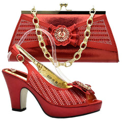 ... Capputine Purple Color African Woman Shoes And Bag Set Decorated With Rhinestone  Nigerian Party Shoes And a1a5318d6be1