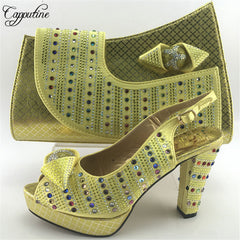 Capputine Gold Color Italian Design Shoes With Matching Bag Set Hot Selling African  Women High Heels ... bbbf91e89e2d