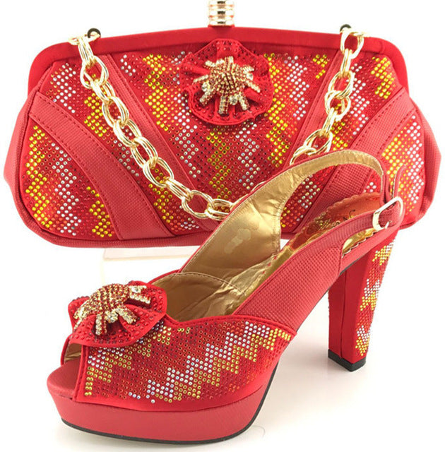 f883da9cd0f ... Capputine Latest African Woman Red Color Shoes And Matching Bags Set  Italian Pumps Shoes And Bag