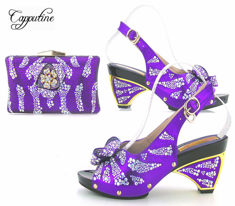 42c0bbd223bd Capputin Fashion Rhinestone Royal Blue Shoes And Bag Set For Party New  Design High Heels Shoes ...