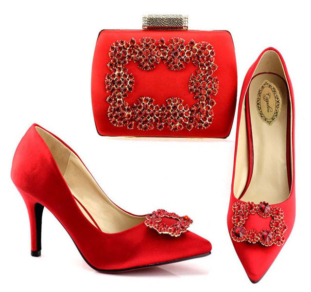 e76e917a1d4 ... Capputine Latest Red Color Italian Woman Shoes And Bag Set Fashion  African Spike Heels Shoes And ...