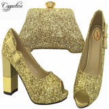 Capputine Golden Color Latest Design Shoes And Bag Set High Quality Decorated With Rhinestone Italian Shoes And Bag Set BCH-31