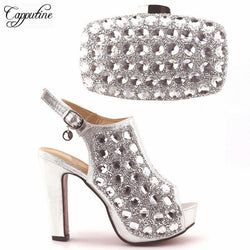 Capputin High Quality Fashion Women Party Shoes With Matching Bags Italian High Heels Shoes And Bags Set For Wedding Dress