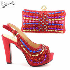 535cedd7c13b Capputin New Arrival Red Color Italian Shoes With Bags Set High Quality  African Pumps Shoes And ...