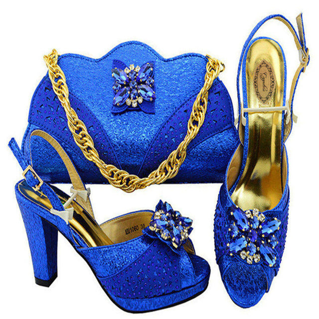 a59f2b31ac ... Capputine Latest Gold Color Italian Shoes And Bags Italian Decorated  With Rhinestone Party Shoes And Bag ...