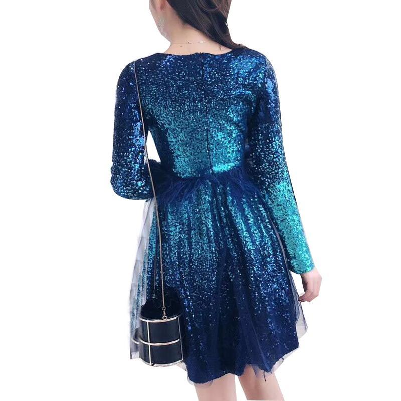 2017 Autumn Sequin Mesh Dress evening party dress Fashion Women Sexy long Sleeves Mini dress vestidos