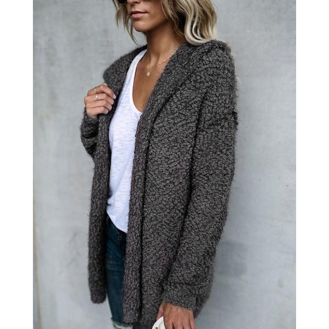 2017 Autumn Winter Women Cardigan with Hooded Warm Cardigan Women Woolen Jacket Fashion Lady Coat