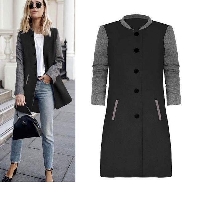 2017 Autumn winter women retro outerwear Hit color stitching woolen coat Round Neck Female Single Button Coat