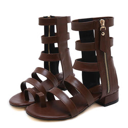 2018 Summer Fashion Gladiator Sandals Women Soft Leather Thick Heels Ladies Casual Rome Sandals Zipper Comfortable Shoes