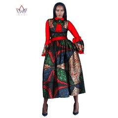 2017 Women Maxi Dress African Print Dresses for Women Flare Sleeve Dress  African Women Print Clothing ... 59feabf29a83