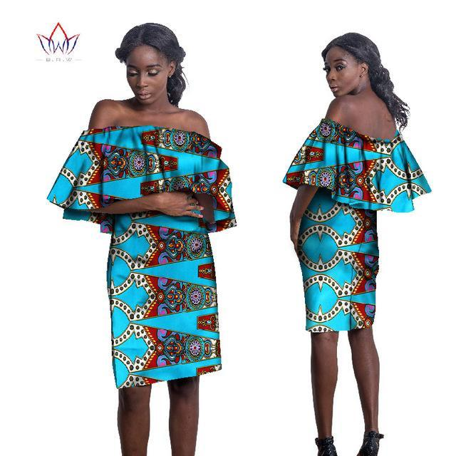 2017 Summer African Off the Shoulder Printed Dresses for Women African Print Bazin Riche Plus Size Party Dress Clothing WY1879