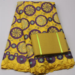 Retail Latest Yellow China 100 Cotton Wedding Headtie And African Embroidery Voile Fabric For Party Nigerian MR503B-1