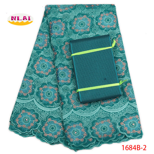 Nigerian Lace Fabrics High Quality , Latest Voile Lace 2018, Gele Headtie Teal Green Cotton Lace MR1684B