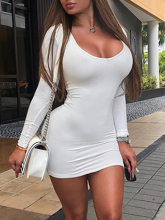 Fashion Summer Stylish Slim Fit White Women Dress Sexy Solid Long
