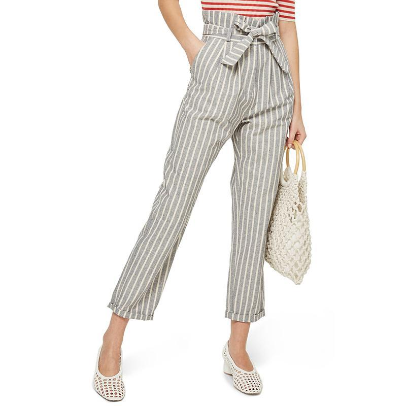 7d365ed2db4 2018 New Fashion Summer Women Casual Stylish Elegant Leisure Pants Striped  Belted High Waist Roll Up ...